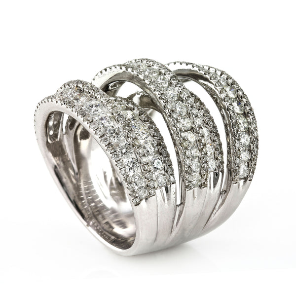 4.81ct Round Diamonds in 14K White Gold  Five Rows Wedding Anniversary Cocktail Ring
