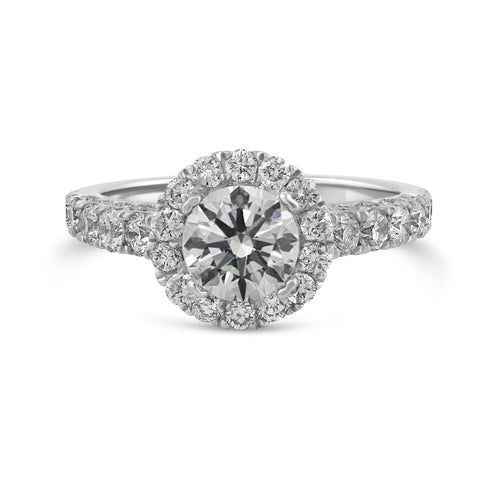 1.21ct Pavé Side Diamonds in 14K White Gold Semi-Mount Halo Ring