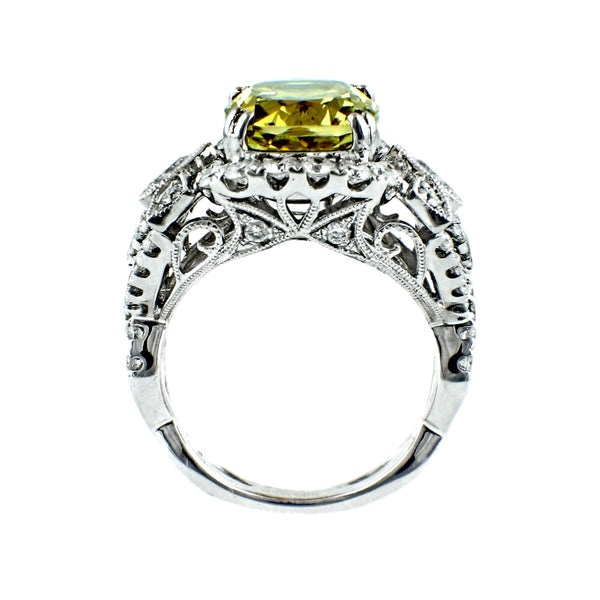 6.61tcw Cushion Cut  Golden Beryl & Diamonds in 14K White Gold Cocktail Anniversary Ring