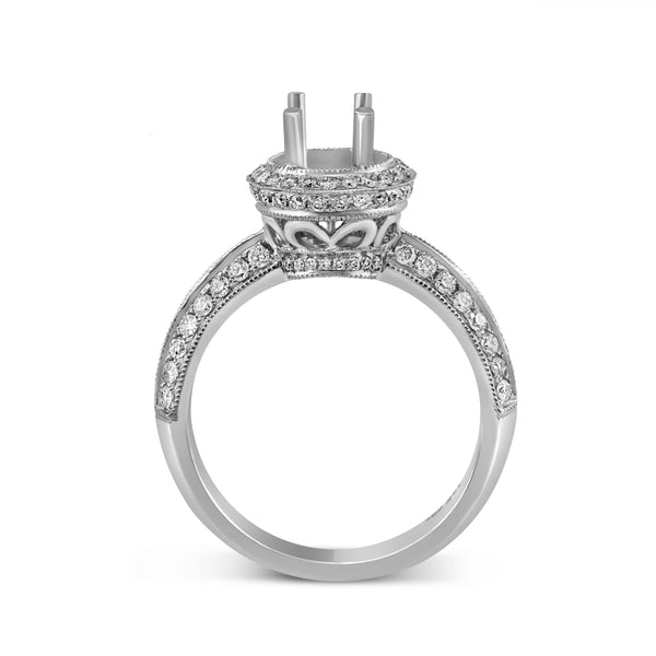 0.57ct Pavé Side Diamonds in 14K White Gold Semi-Mount Basket Ring