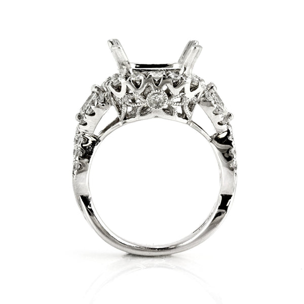 1.22ct Round Side Diamonds in 14K White Gold Cushion Halo Semi Mount Ring