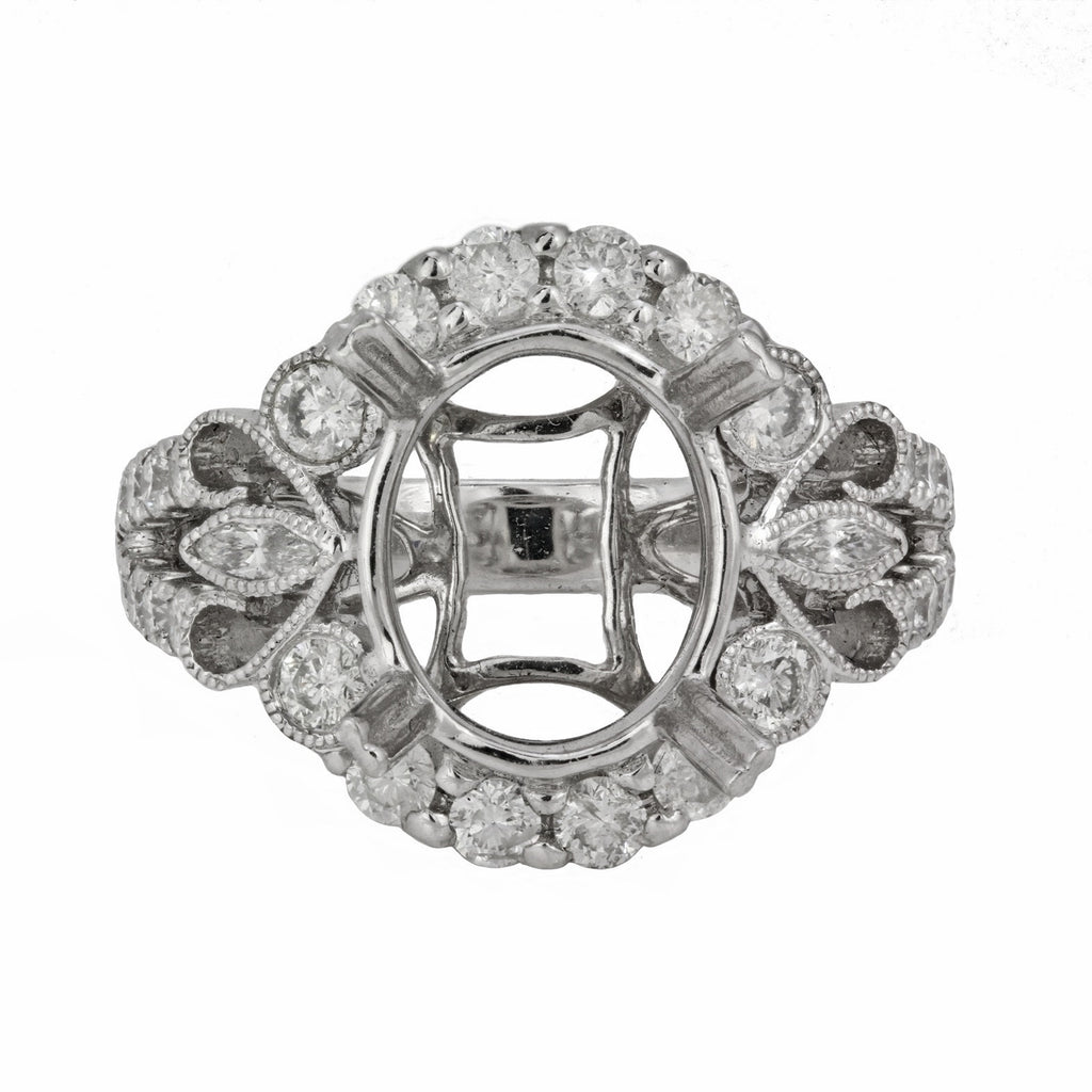 1.38ct Round & Marquise Side Diamonds in 14K White Gold Oval Halo Semi Mount Ring