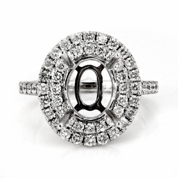 0.75ct Round Side Diamonds in 14K White Gold Oval Halo Semi Mount Ring