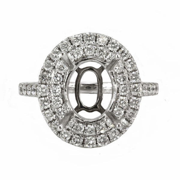 0.99ct Round Side Diamonds in 14K White Gold Oval Halo Semi Mount Engagement Ring