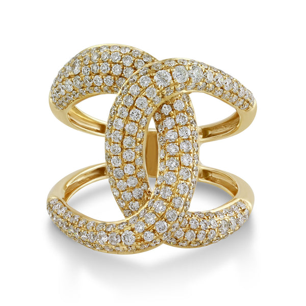 1.46ct Pavé Round Diamonds in 14K Gold Interlocking Loops Infinity Ring
