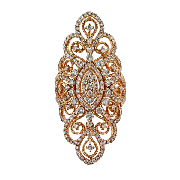 2.27ct Round Diamonds in 14kt Gold Filigree Lace Statement Ring