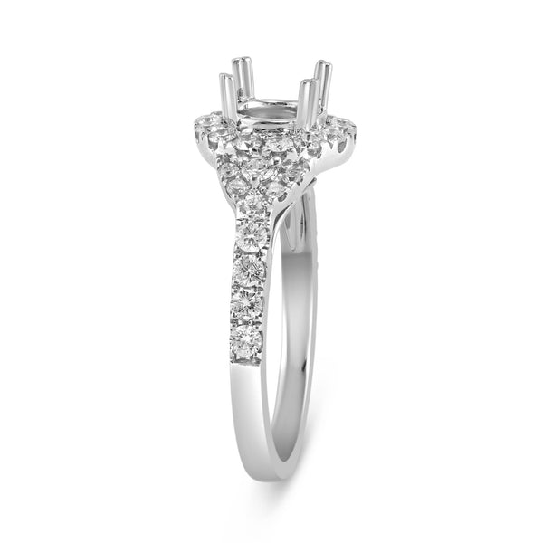 0.72ct Pavé Side Diamonds in 14K White Gold Semi-Mount 3Stone Halo Ring
