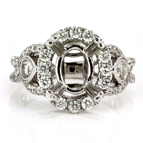 1.18ct Round Side Diamonds in 14K White Gold Halo Semi Mount Ring