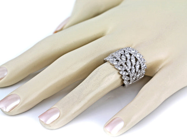 2.45ct Pavé Diamonds in 14K White Gold Dazzling Leaf Wrap Band Ring