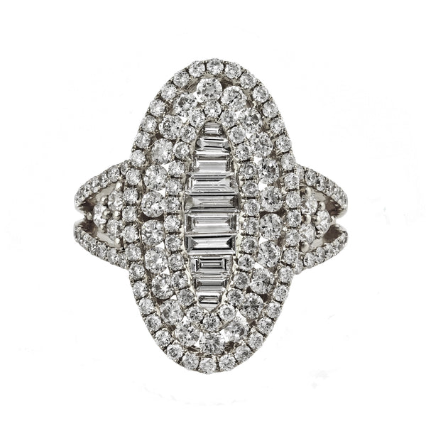 2.05tcw Baguette & Round Diamonds in 14K Gold Oval Cocktail Ring