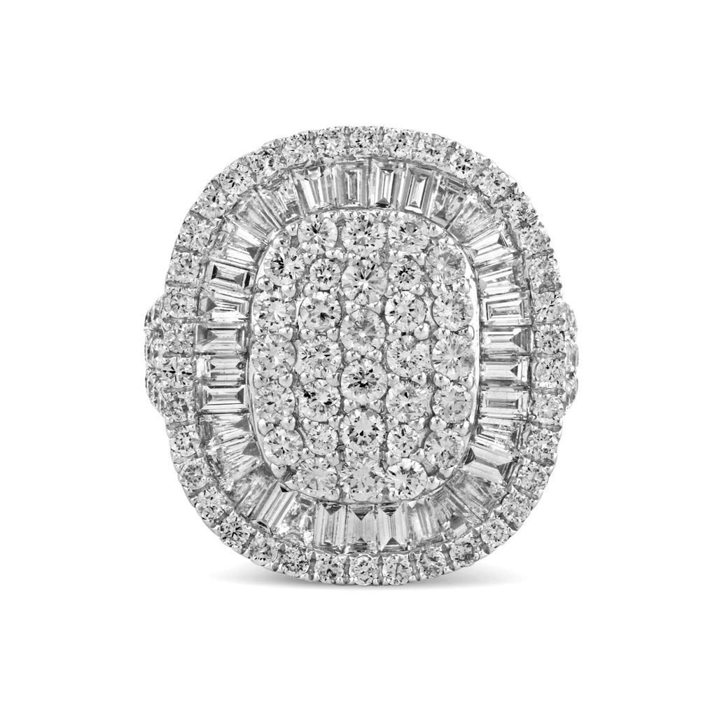 3.35tcw Baguette & Round Diamonds 14K White Gold Semi-Oval Cocktail Ring