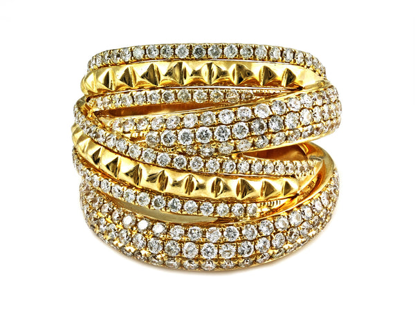 1.91ct Pavé Diamonds in 14K Gold Studs Overlapping Cluster Band Ring