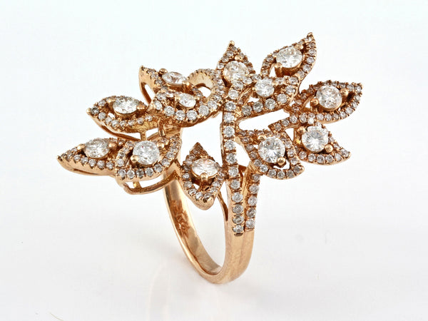 1.68ct Pavé Diamonds 14K Gold Olive Leaf Cocktail Ring