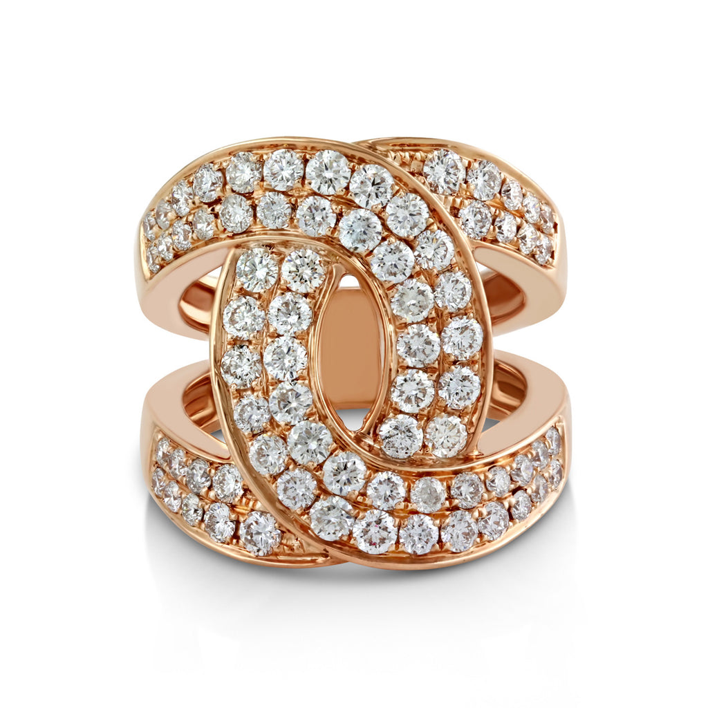 2.08tcw Pavé Diamonds in 14K Gold Interlocking Loops Motif Ring