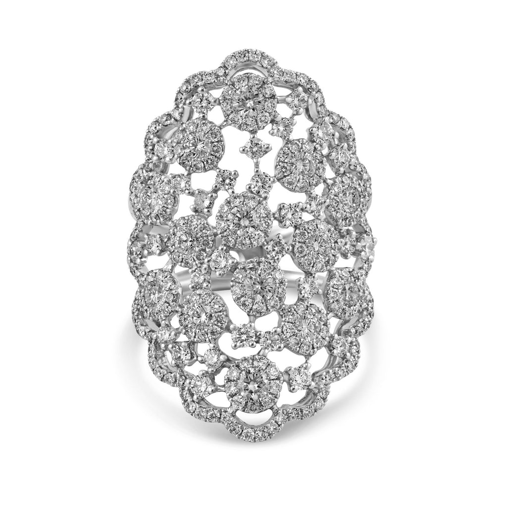 2.62tcw Round Diamond in 14K White Gold Floral Lace Ring