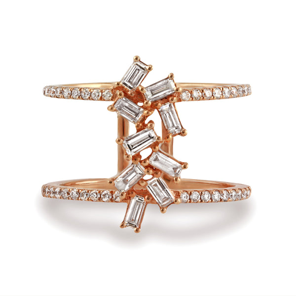 0.83ct Prong Pavé Baguette & Round  Diamonds in 14K Gold Statement Ring