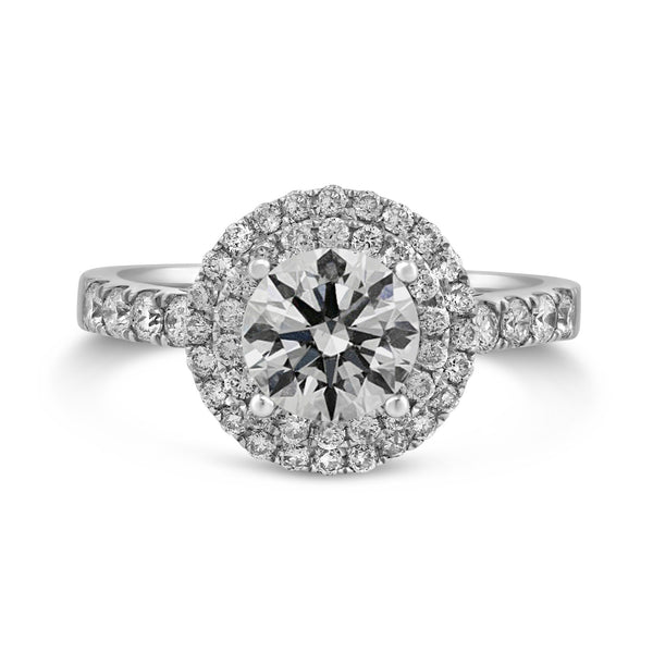 0.60ct Pavé Side Diamonds in 14K White Gold Semi-Mount Basket Halo Ring