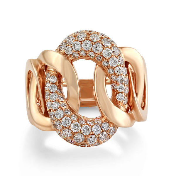1.46tcw Pavé Round Diamonds in 14K Gold Cuban Curb Link Ring