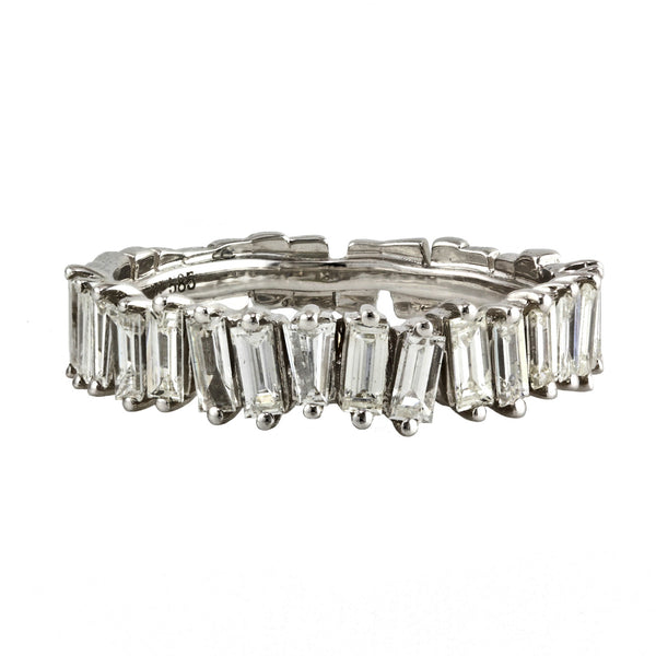 1.12ct Diamonds in 14K White Gold Deconstructed Baguette Half Eternity Ring