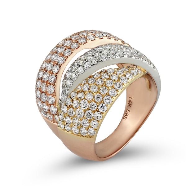 3.27ct Pavé Round Diamonds in 14K TriColor Gold Overlapping Dome Ring
