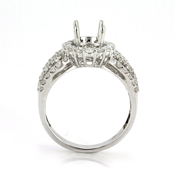 1.55ct Round & Baguette Side Diamonds in 18K White Gold Halo Semi Mount Ring