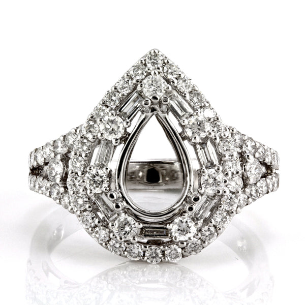1.21ct Round & Baguette Side Diamonds in 18K White Pear Shape Halo Semi Mount Ring