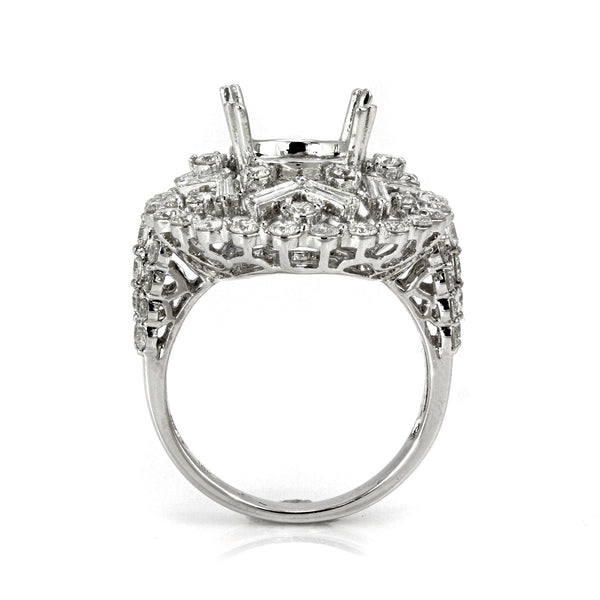 2.30ct Round & Baguette Side Diamonds in 14K White Gold Oval Star Halo Semi Mount Ring