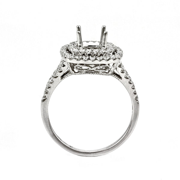 0.79ct Side Diamonds in 14K White Gold Cushion Halo Semi Mount Ring