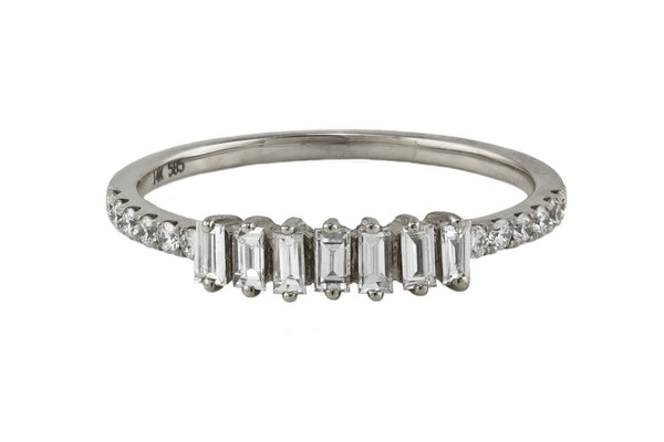 0.40ct Diamonds in 14K Gold Seven Baguette Ring