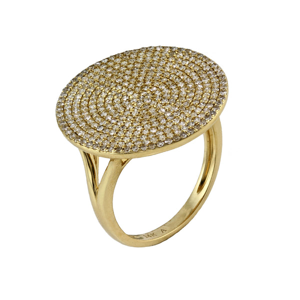 1.00ct Micro Pavé Round Diamonds in 14K Gold Disc Plate Cocktail Ring
