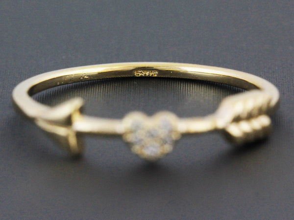 0.03ct Micro Pavé Diamonds in 14K Gold Heart & Arrow Petite Ring