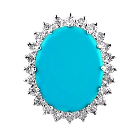 22.00ct Oval Turquoise with Diamonds in 14K White Gold Cocktail Ring