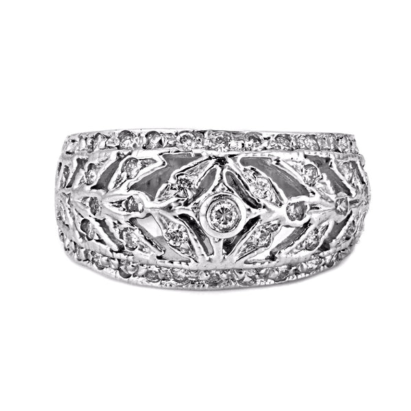 0.30ct Round Diamonds in 14K White Gold Filigree Anniversary Ring