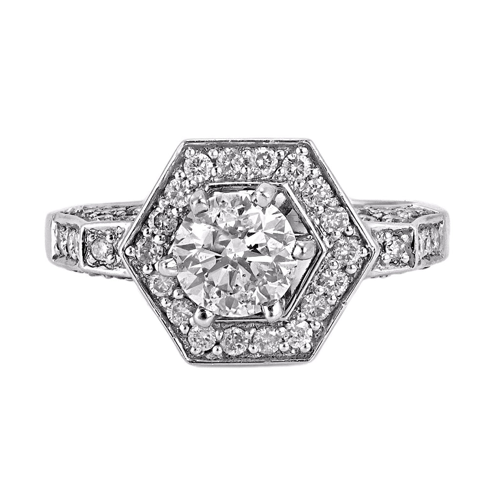1.30ct Pavé Round Diamonds in 14K White Gold Octagon Engagement Ring