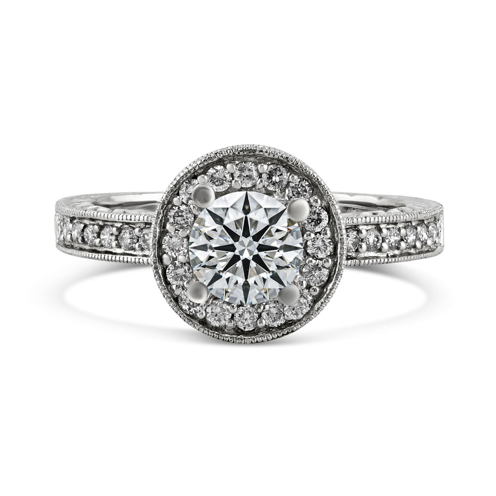 0.40ct Pavé Side Diamonds in 14K White Gold Semi-Mount Milgrain Halo Ring