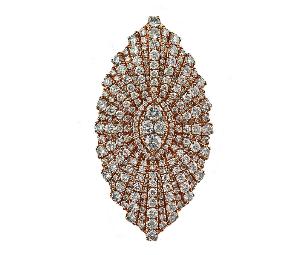3.96ct Pavé Diamonds in 14K Gold Marquise Daisy Flower Statement Ring