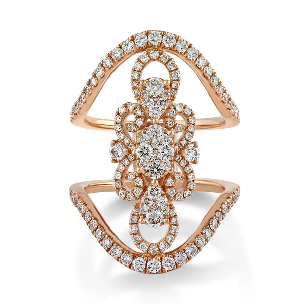 1.29tcw Round Diamonds in 14K Gold Floral Filigree Statement Ring