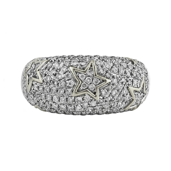 1.12ct Pave Round Diamond with in 14K Gold Starry Domed Band Ring