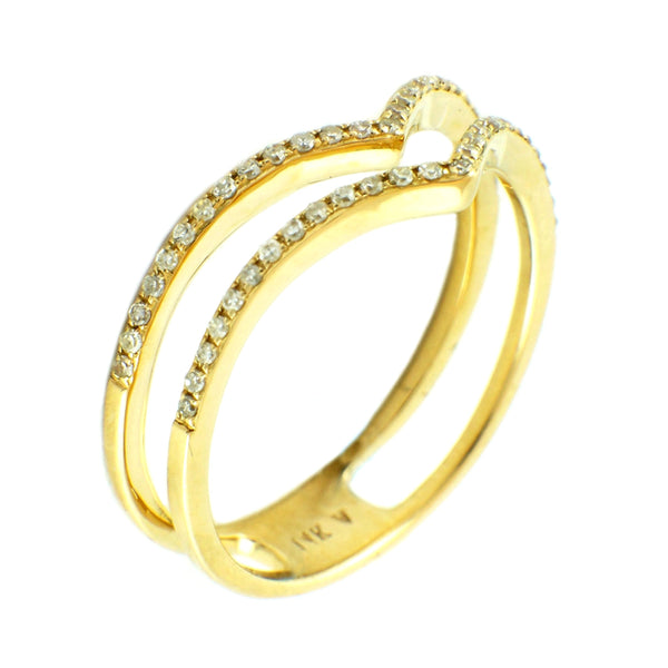 0.16ct Pavé Diamonds in 14K Gold Double Chevron Spike Band Ring