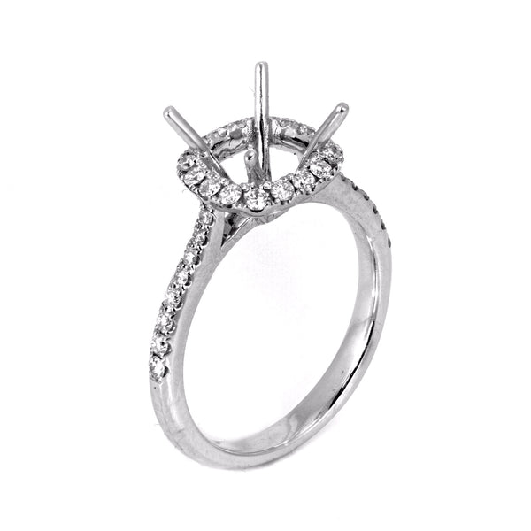 0.37ct Side Diamonds in 14K White Gold Cushion Cut Halo Semi Mount Ring