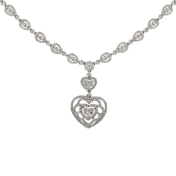 3.55tcw Round Diamonds in 14K White Gold Flower Heart Pendant Necklace 17""