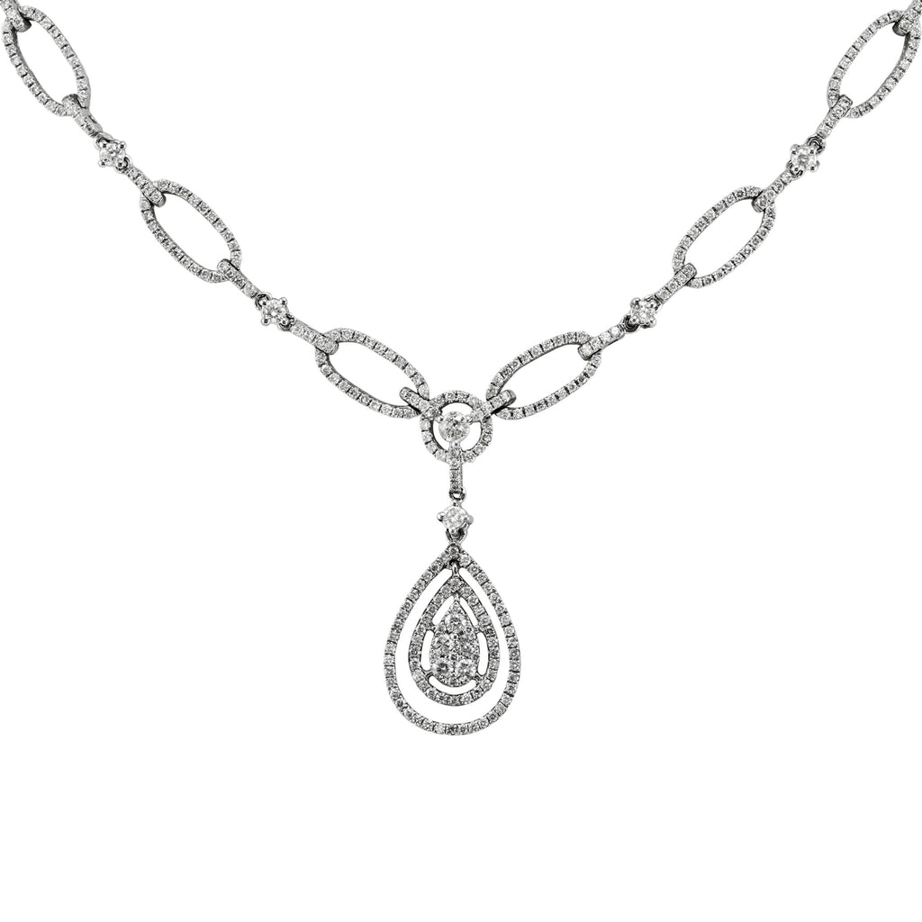 2.13tcw Round Diamonds in 14K White Gold Tear-Drop Pendant Necklace 17""