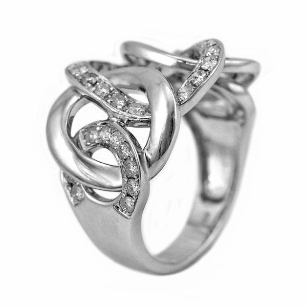 0.69ct Round Diamonds in 14K White Gold Chunky Link Ring