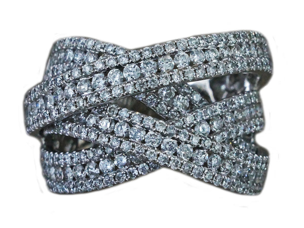 2.90ct Round Diamonds 14K White Gold Woven Cocktail Anniversary Ring