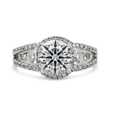 0.60ct Pavé Side Diamonds in 14K White Gold Semi-Mount 3Stone Halo Ring