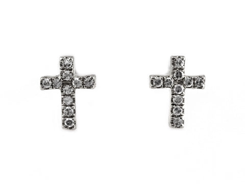 0.05ct Round Micro Pavé Diamond in 14K Gold Mini Cross Stud Earrings