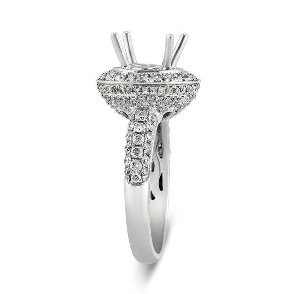 2.06ct Pavé Side Diamonds in 14K White Gold Semi-Mount Halo Ring