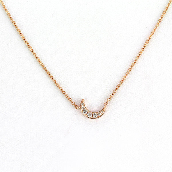 0.08ct Pavé Round Diamonds in 14K Gold Slanting Mini Crescent Moon Pendant Necklace