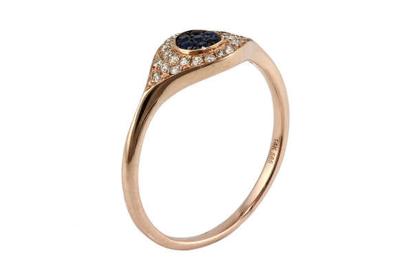 0.25ct Pavé Sapphire & Diamonds 14K Gold Evil Eye Statement Ring