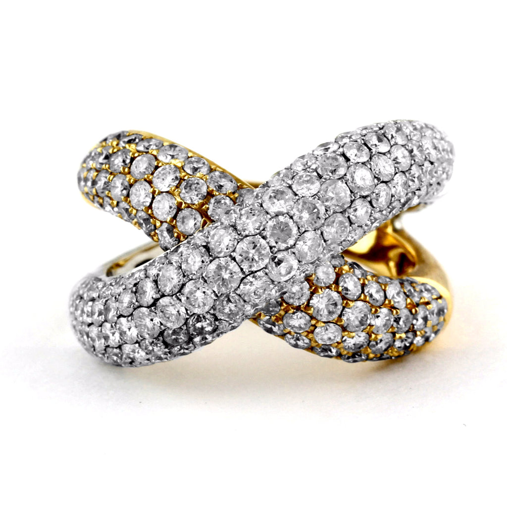 3.5ct Pavé Diamond 14K Two-Toned Gold Overlapping Criss-Cross Motif Ring